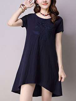 Blue Shift Above Knee Plus Size Dress for Casual Office Party Evening