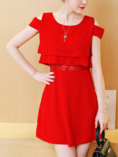 Red Fit & Flare Above Knee Plus Size Lace Dress for Casual Office Party Evening