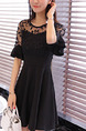 Black Fit & Flare Above Knee Plus Size Dress for Office Party Evening Casual