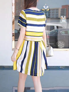 Blue Cream and Yellow Shift Above Knee Plus Size Dress for Casual Office Party