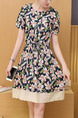Blue Cream Colorful Fit & Flare Above Knee Floral Plus Size Dress for Casual Office Party