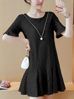 Black Shift Above Knee Plus Size Dress for Casual Office Party Evening