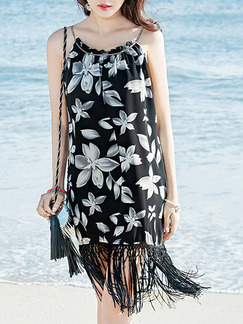 Black and White Shift Slip Floral Knee Length Dress for Casual Beach