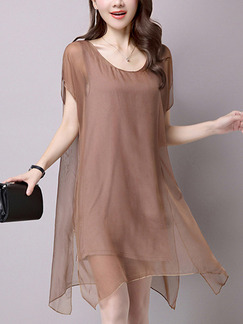 Brown Shift Knee Length Plus Size Dress for Casual Office Party Evening