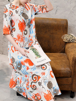 Orange Blue Colorful Shift Maxi Plus Size Dress for Casual Beach