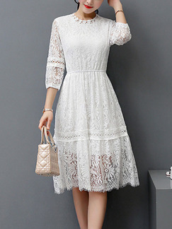 White Fit & Flare Knee Length Lace Plus Size Dress for Casual Office Party Evening