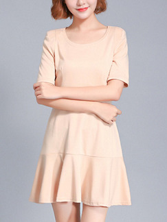 Beige Fit & Flare Above Knee Plus Size Dress for Casual Office Party Evening
