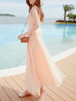 Pink Shift Maxi Cute Plus Size Dress for Casual Party Beach
