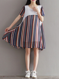 White Blue and Red Shift Above Knee Plus Size Dress for Casual