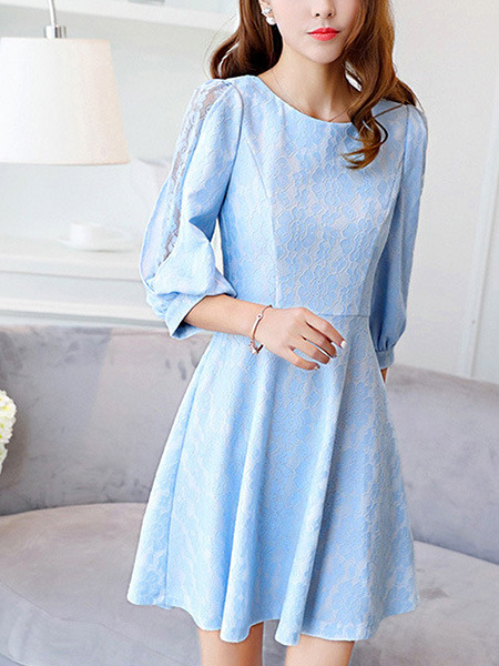 Blue Fit & Flare Above Knee Plus Size Lace Dress for Casual Office Party Evening