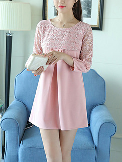 Pink Cute Shift Lace Above Knee Plus Size Long Sleeve Dress for Casual Office Party Evening