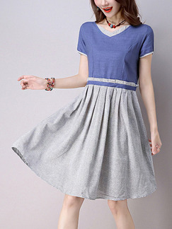 Blue and Grey Fit & Flare Above Knee Plus Size Dress for Casual Office Party