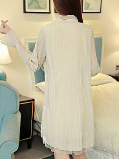 Beige Shift Above Knee Plus Size Long Sleeve Dress for Casual Office Party Evening