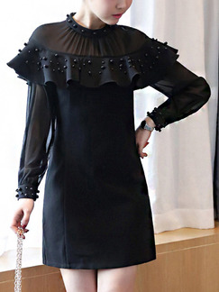 Black Shift Above Knee Plus Size Long Sleeve Dress for Casual Office Party Evening