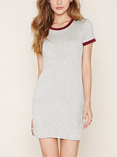 Grey and Red Bodycon Above Knee Plus Size Dress for Casual