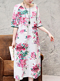 Cream Pink Colorful Shift Midi Plus Size Floral Dress for Casual Beach