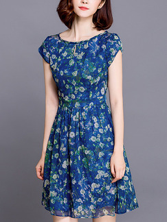 Blue Green Colorful Fit & Flare Above Knee Plus Size Floral Dress for Casual Office Party
