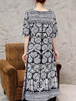 Black and White Shift Midi Plus Size Dress for Casual Party