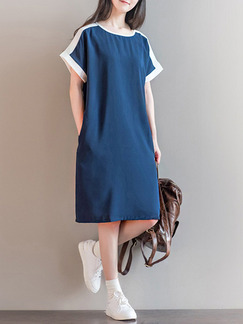 Blue and White Shift Knee Length Plus Size Dress for Casual Office