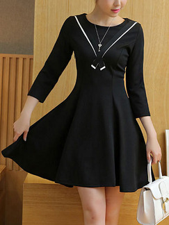 Black Fit & Flare Above Knee Plus Size Dress for Casual Office Party Evening
