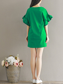 Green Shift Above Knee Plus Size Dress for Casual Party Office Evening