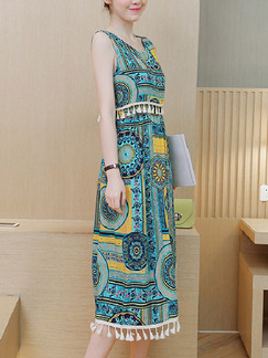 Blue Yellow Colorful Shift Midi Plus Size Dress for Casual Beach