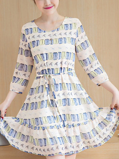 Cream Blue Colorful Shift Above Knee Plus Size Dress for Casual Office Party