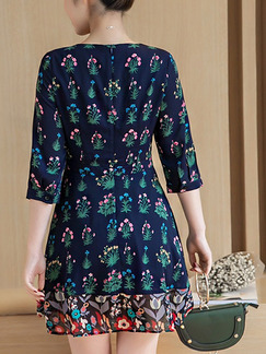 Blue Green Colorful Fit & Flare Above Knee Plus Size Floral Dress for Casual Office Party Evening