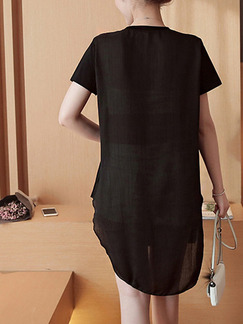 Black Colorful Shift Above Knee Plus Size Dress for Casual
