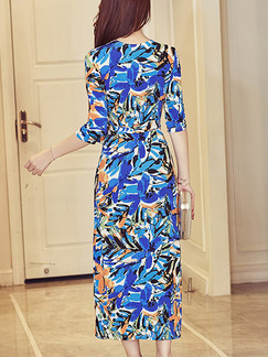 Blue Colorful Shift Maxi Plus Size Floral V Neck Dress for Casual Office Party