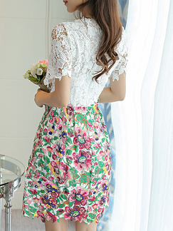 White Colorful Fit & Flare Above Knee Lace Floral Plus Size Dress for Casual Office Party