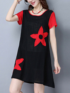 Red and Black Shift Above Knee Plus Size Dress for Casual Party