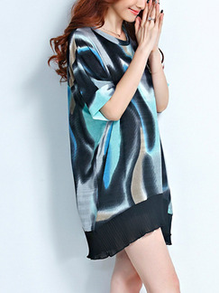 Black Blue Colorful Shift Above Knee Dress for Casual Party