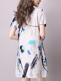 Blue Black and Cream Shift Above Knee Plus Size Floral Dress for Casual Party