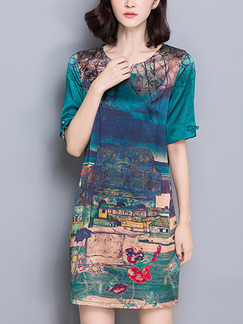 Green Blue Colorful Shift Above Knee Plus Size Dress for Casual Office