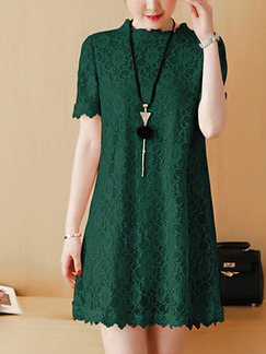 Green Shift Lace Above Knee Plus Size  Dress for Casual Office Party Evening