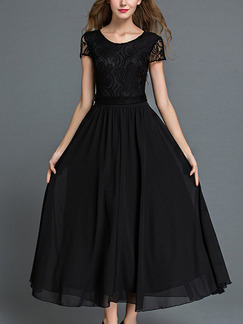 Black Fit & Flare Plus Size Maxi Lace Dress for Prom Bridesmaid Cocktail
