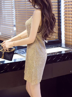 Golden Shift Above Knee Sequin Dress for Party Evening Nightclub