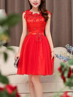 Red Fit & Flare Lace Above Knee Plus Size Dress for Bridesmaid Cocktail Prom