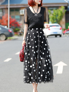 Black and White Polka Dot Fit & Flare Midi Plus Size Dress for Casual Party Evening