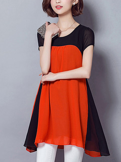 Orange and Black Shift T-Shirt Plus Size Above Knee Dress for Casual Office Party