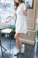 White Colorful Fit & Flare Above Knee Plus Size Dress for Casual Party