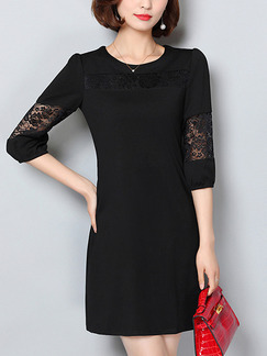 Black Sheath Above Knee Lace Plus Size Dress for Casual Office Evening Party