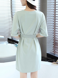 Green Shift Above Knee Plus Size Dress for Casual Office Party