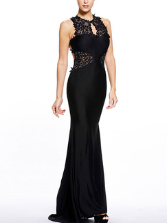 Black Maxi Lace Dress for Prom Cocktail Bridesmaid Ball