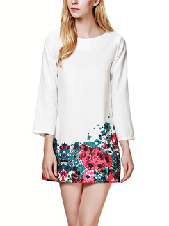 White Colorful Shift Above Knee Plus Size Floral Dress for Casual Party Evening Office
