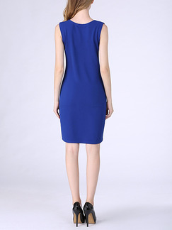 Blue Sheath Above Knee V Neck Plus Size Dress for Casual Party Evening