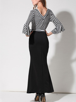 Black and White Stripe Bodycon Maxi V Neck Plus Size Dress for Casual Office Evening