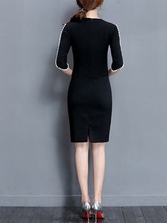 Black Sheath Above Knee Plus Size Dress for Casual Party Evening Nightclub