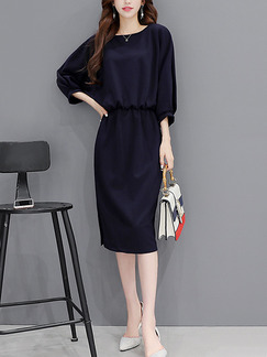 Black Shift Knee Length Plus Size Dress for Casual Office Evening